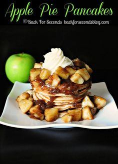 Apple Pie Pancakes with Cream Cheese Frosting by backforsecondsblo...  #recipe #breakfast #pancakes #applepie #creamcheese #frosting