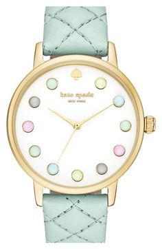 kate spade new york 'metro - rainbow' leather strap watch, 38mm