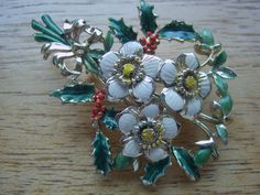 Vintage Exquisite Christmas Rose Brooch Pin by LincaraVintage, $30.00