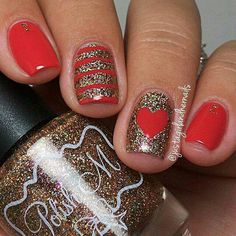# RED & GOLD GLITTER NAILS W/ HEART