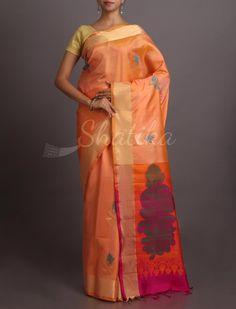 Soumitri Subtle Peach Plush #WeddingSilkSaree
