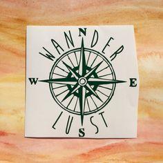 Wanderlust traveler compass map vinyl decal by GoldCoastDecals