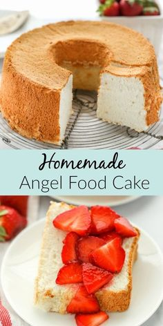 Angel Food Cake Desserts, Angle Food Cake Recipes, Easy Desserts, Delicious Desserts, Yummy Food, Angel Fruit Cake Recipe, Sour Cream Angel Food Cake Recipe, Easy Yummy Cake Recipe, Tasty Recipes For Dessert