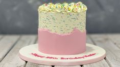 colorful sprinkled fault line cake with sprinkled vanilla sponge makes your friends, love ones and your family will love. mixing of sprinkles and a butter c. Cake Icing, Buttercream Frosting, Vanilla Sponge, Vanilla Cake, Full Fat Milk, Cake Youtube, Cake Cover, Beautiful Textures, Love Cake