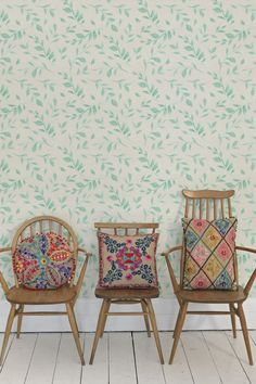 Jute embroidered cushions on some lovely vintage ercol chairs - Amazing Interior Design Ercol Chair, Chair Cushions, Deco Boheme, Embroidered Cushions, Home Living, Soft Furnishings, Decoration, Bunt, Interior Inspiration