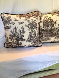 Black and Cream Waverly Country Life Toile Pillow Cover. by sosewfine. Explore more products on http://sosewfine.etsy.com