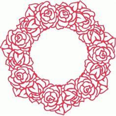 Silhouette Design Store: roses wreath filigree