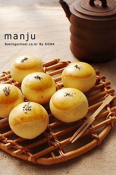 MANJU (굽는만주) recipe Korean Korean Sweets, Korean Dessert, Korean Food, Korean Recipes, Sweet Rice Flour Recipe, Bakery Recipes, Dessert Recipes, Manju Recipe, Asia Food