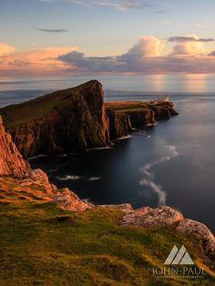 Neist Point at sunset, Isle of Skye, Scotland.