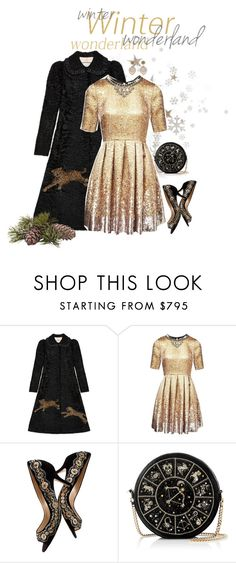 """""""Christmas Eve Service"""" by seafreak83 ❤ liked on Polyvore featuring Gucci, Matthew Williamson, Oscar de la Renta, Preciously, Miguel Ases, Christmas, gold, metallic and christmaseve"""