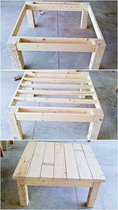 Table from pallet wood I don't want to use pallet wood but I want to make this for the living room. | DIY HOME  | Pallet Wood, Tables and Pallets