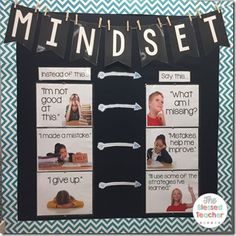 Growth Mindset Bulletin Board - Fixed —> Growth Mindset - use pics of kids in the class for these changes! Future Classroom, School Classroom, Growth Mindset Classroom, Growth Mindset Display, Counseling Bulletin Boards, Montessori, Habits Of Mind, Visible Learning, Conscious Discipline