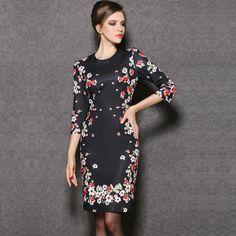 2014 new women's European and American big autumn dress wholesale agents Slim printing LT2671