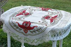 Arts and Crafts embroidered tea cloth -- sage greens and true red, perfect with Cluny lace