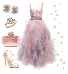 """""""🌛"""" by martsola ❤ liked on Polyvore featuring Marchesa, Jimmy Choo, Bloomingdale's, Steve Madden, Pink, dress, princess, Gala and rosegold"""