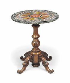 A VICTORIAN WALNUT AND SPECIMEN MARBLE CENTRE TABLE - MID-19TH CENTURY, THE TOP AND BASE ASSOCIATED