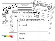 March Madness Basketball Activities for First Grade using the book DIno-Basketball! This is a FULL, 5 day literacy unit to practice important reading concepts!!