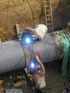Pipeline Installation. Two way welding by two welders using Stick Welding process.