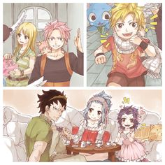 So cute Natsu x Lucy  Gajeel x Levy's kids so cute gajeel was having a tea party with his little princess!!!