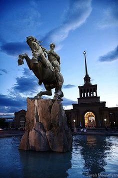Statue of David of Sassoun, Yerevan, Armenia  Photo by Suren Manvelyan    The monument of Sasuntsi Davit [David of Sasun] represents the hero of the Armenian national epic -- The Daredevils of Sasun.   The impressive statue was sculptured by the outstanding sculptor Ervand Kočar in 1959. The master had made the original statue out of clay in the 1940s, and later based on that model made the copper version that we see today in front of the Central Train Station of Yerevan.