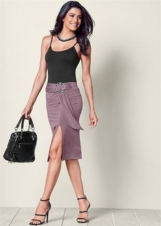 Venus Women's Ring And Sash Midi Skirt - Grey/purple, Size L