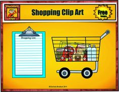 Free shopping cart and shopping list clip art from Charlotte's Clips.
