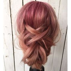 Soft red to peach fade in a cute updo ❤