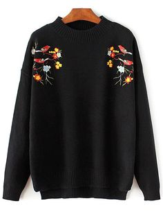 $23.95 for Bird Embroidered Mock Neck Knitwear
