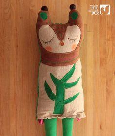 Stuffed Reclaimed Fabric Doll Lilka от WhiteFoxInBlackBox на Etsy