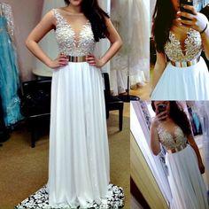 Beading Prom Dresses,Charming Evening Dress,White Prom Gowns,Lace Prom Dresses,2016 New Prom Gowns,Chiffon Evening…