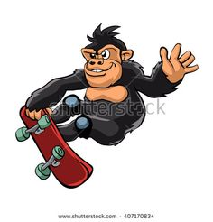 Gorilla skater cartoon.