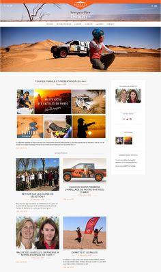 Création du site de l'équipe Domitys qui participera au Rallye Aicha des Gazelles en 2016. #webdesign #blog #rallye #gazelles Isuzu D-max, Identity, Web Design, Courses, 4x4, Blog, Movie Posters, Movies, Rally