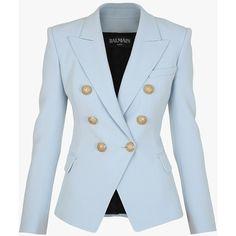 Blazer à double boutonnage en crêpe | Vestes Femme | Balmain featuring polyvore, women's fashion, clothing, outerwear, jackets, blazers, blue blazer jacket, balmain, balmain blazer, blazer jacket and balmain jacket
