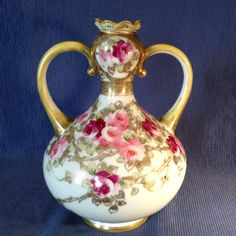 SOLD! NIPPON-Handled-Vase-Hand-Painted-Floral-With-Gold-Moriage-Beading