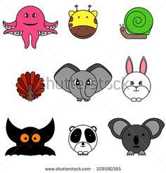 Set of nine cute cartoon circle animals
