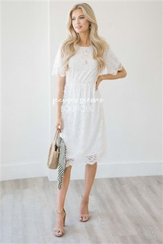a00da32bca5a Ivory Pretty Lace Modest Dress | Best Online Modest Boutique for Dresses |  Cute Modest Clothes