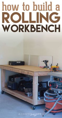 How to Build a Rolling Workbench | Build a simple workbench with these easy to follow DIY plans. This is the perfect workbench to add more storage in your garage to hold your tools and get you organized!