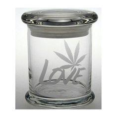 Weed Etched Glass Stash Jar Cannabis Air Tight Container LOVE Medical Marijuana Cross Bong Ganja Hemp Hippy MMJ Colorado California
