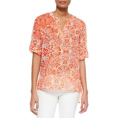 Finley Carli Santorini Printed Blouse (3.500 RUB) ❤ liked on Polyvore featuring tops, blouses, coral, sweater pullover, relaxed fit tops, pullover top, long blouse and long slit top