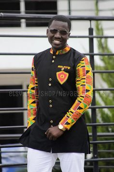 Men's kente & black long sleeves with embroidered broach; African Clothing; Mens Fashion Wear; African Wear; African; Kente