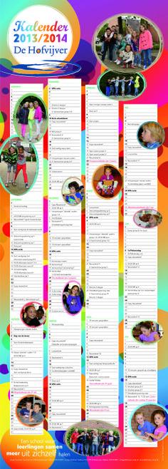 Schoolkalender voor Basisschool de Hofvijver te Zoetermeer 2013 2014