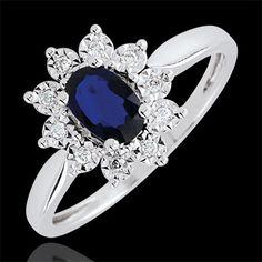 Bague Marguerite Illusion - saphir : bijoux Edenly