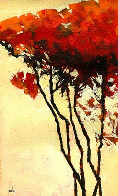 Paul Bailey ART — Five trees – Fall variation 7 x 12 inches 2013 Abstract Landscape Painting, Abstract Nature, Landscape Paintings, Abstract Art, Abstract Paintings, Art Abstrait, Art Graphique, Autumn Trees, Tree Art