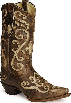 Tony Lama 100% Vaquero Cream Inlay Cowgirl Boots
