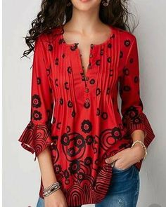 7ea8d9c03368 Red Blouses · New Ladies Fashion, Women's Summer Fashion, Womens Fashion,  Fashion Trends, Fashion Outfits
