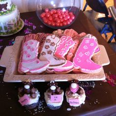 Cowgirl cookies and cupcakes by Maamaw B Cowgirl Birthday, Cowgirl Party, Cowgirl Cookies, End Of School Year, Western Theme, Cookie Decorating, Event Planning, Birthday Parties, Projects To Try