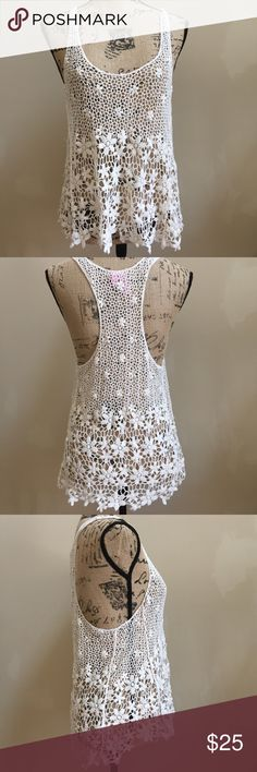"""Dolled Up Racer Back Crocheted Top Gorgeous 100% cotton crocheted top, excellent used condition, size large, bust 19"""", length 26"""", wear alone or with a cover up or tunic  *b* Dolled Up Tops Tunics"""