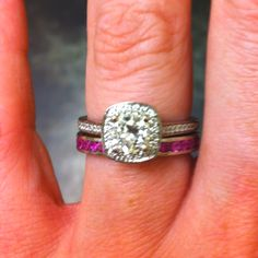 i love the idea of a colored gem wedding band for the pop of color! i had never thought of it!