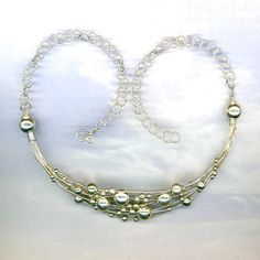 Silver Wire Necklace Beaded Wire Wrapped Necklace by WvWorks, $259.75
