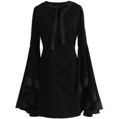 Chicwish Awe in Bell Sleeves Black Dress